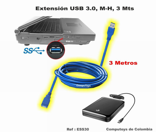 Zess30 Cable Extensor De Puerto Usb 3.0, 3 Mts Computoys