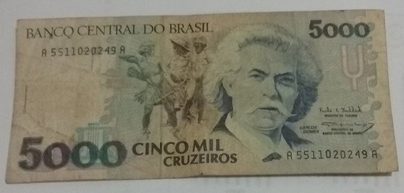 Cédulas De 5000 Cruzeiros Carlos Gomes, Em Boas Condições
