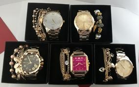 Kit C/5 Relógios Feminino+pulseira+ Caixa Preta Atacado Top