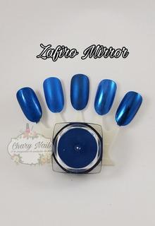 Polvo Uñas Efecto Espejo Azul Manicure Y Pedicure En