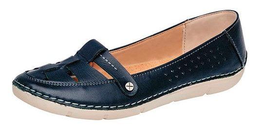 Zapato Piso Piel Azul Dama Zoe C36076 Udt