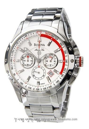 Relógio Bulova Marinestar 96b013 Orig Chron Anal Silver