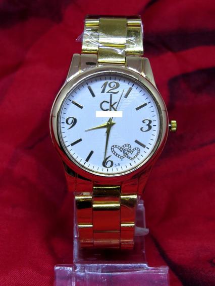 Relógio Dourado Gold Ouro Ck Barato Elegante Feminino C284