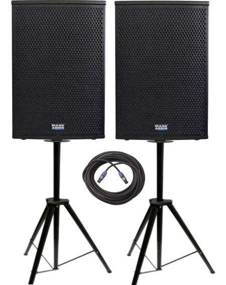 Kit Caixa Ativa 15 + Passiva Mark Audio Ca1200 Cp1200 Tripé