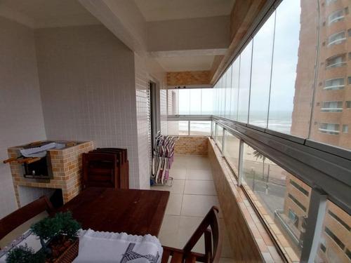 Apartamento Mobiliado E Planejado Com Vista Do Mar Com 3 Dormitórios À Venda, 94 M² Por R$ 550.000 - Mirim - Praia Grande/sp - Ap3544