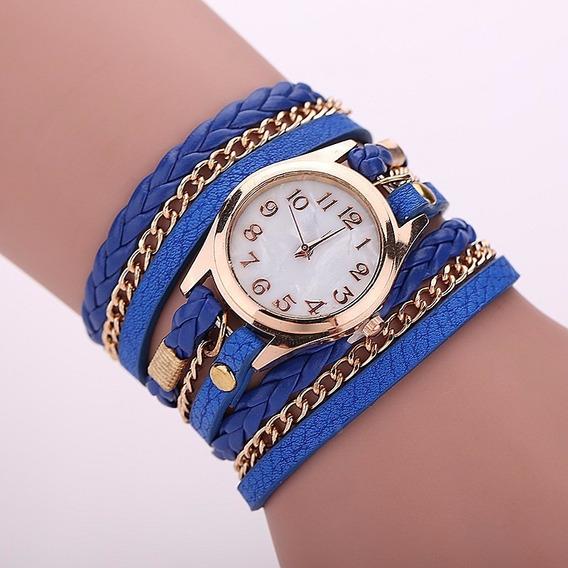 Relógio Feminino Dourado Couro Azul Escuro Vintage Barato