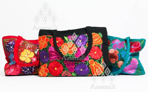 Bolsa Chica Artesanal Mexicana Flores Bordadas En Tela