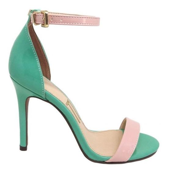 Sandália Verde Verniz Tira Tornozelo Rosa Salto Alto Fino