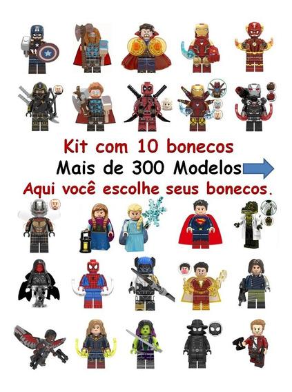 Kit C/10 Bonecos Vingadores/ Marvel/ Dc / Heroes Compatível