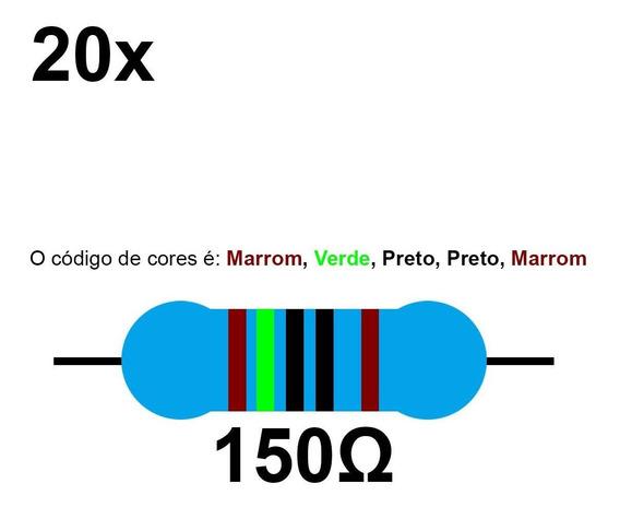 20 Resistor 150 Ohm 1/4w Azul Led 5v Para Arduino Rasp Nfe