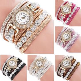 Relógio Pulseira Couro Com Strass Vintage Feminino Moda