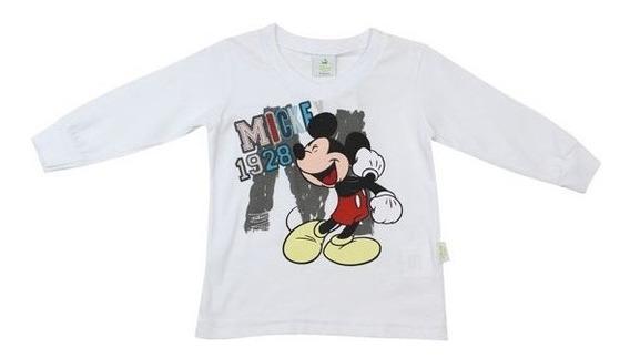 Camiseta Mickey Bebê Menino Manga Longa Brandili