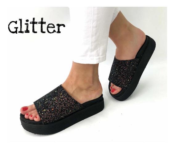 Sandalias De Mujer Con Plataforma Alta Glitter Brillo
