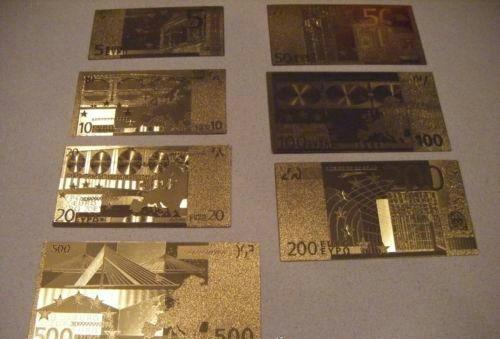 Europa Billetes Euros Baño Oro 24k. Lote!