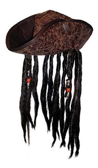 Sombrero Con Peluca, Espada Y Arma Pirata Caribe Disfraz