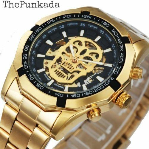 Relógio Winner Skull Gold Automático Mecânico Dourado