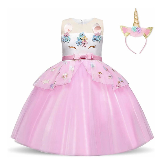 Vestido Con Vincha Unicornio Deluxe Importado