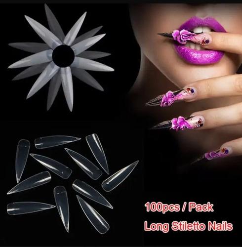 Tips/uñas Stiletto X 100un.con Sonrisa 3 Colores Disponibles
