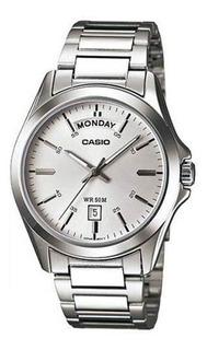 Reloj Casio Mtp-1370d Platead Hombre Calen Acero Inox Sumerg