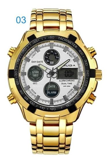 Relógio Masculino Amuda 2002 Social Aço Inox 6 Cores Sku108