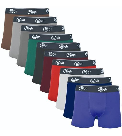10 Cuecas Boxer Masculina Cores Lisas Kit Box Revenda