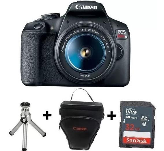 Câmera Canon T7 C/ 18-55mm+ Sd32gb+ Bolsa+ Mini Tripé