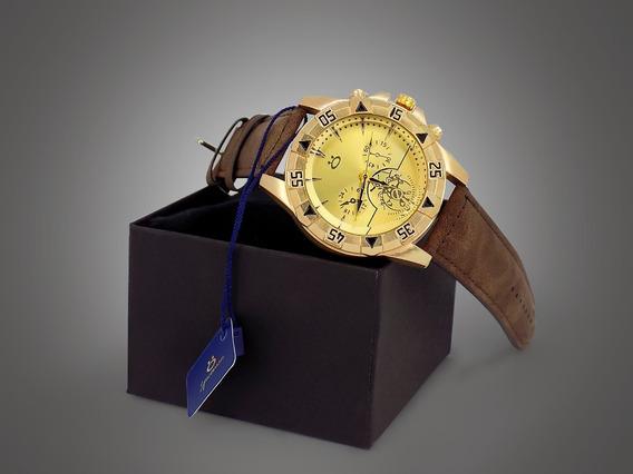 Relógio Masculino Couro Orizom Original + Caixa + Garantia