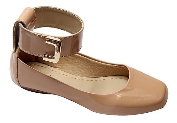 Sapato Sapatilhas Feminina Verniz Vintage Preto Nude Verão