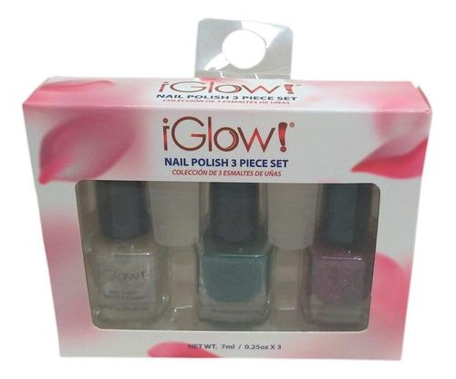 Kit 3 Esmaltes Iglow Importado Eua Nail Polish Com Glitter
