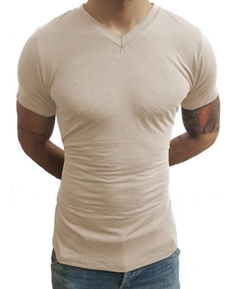 Camiseta Masculina Básica Slim Fit Gola V Manga Curta