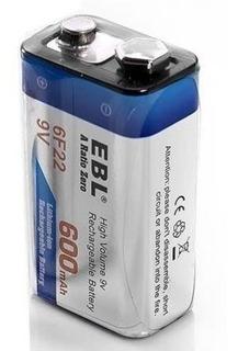 Batería Recargable 9v Ebl, (model 6f22, 600mah Lithium-ion)