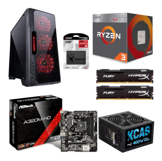 Pc Lumia Ryzen R3 2200g A320m Hd Hx 16gb Kc400 Ssd 120gb