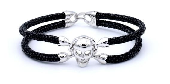 Double Bone Single Skull Silver & Black Plata .925 Diego Vez
