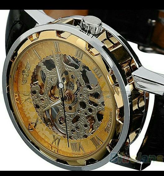 Relógio Skeleton De Pulso Quartz Dial Redondo Relógio Pulso