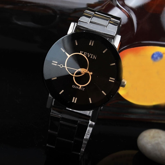 Relógio Masculino Feminino Kevin Aço Cromado Preto Modelo 05
