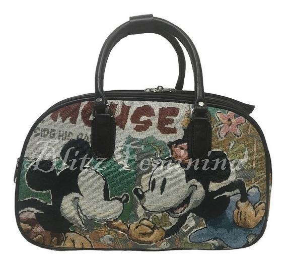 Bolsa Mala De Mão Mickey Colorido Preta Viagem
