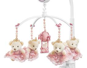 Móbile Berço Bebê Musical E Giratório Ursa Rose Menina