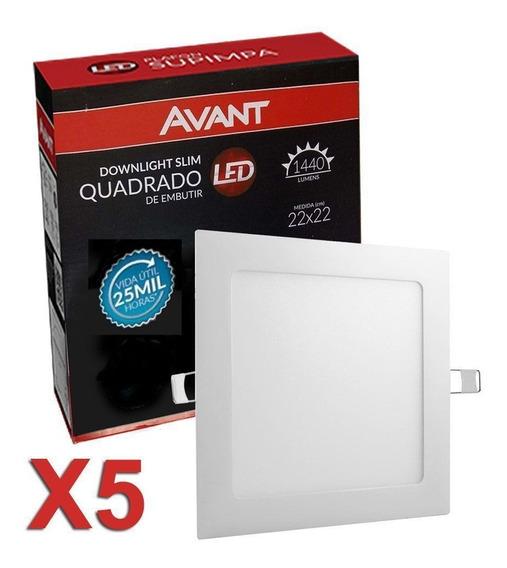 Kit 5 Plafon Luminaria Embutir Painel Teto Led 18w Avant