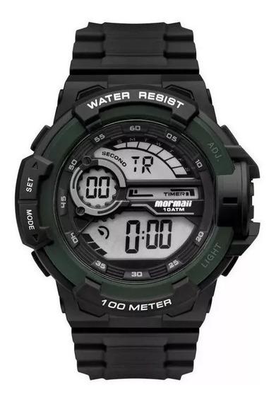 Relógio Mormaii Preto Aro Verde Mo3660ad/8v
