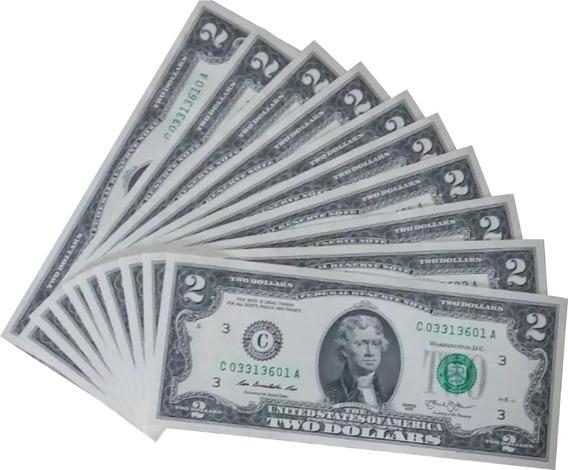 Kit Com 10 Cédula De 2 Dollares Fe Do Ano 2013.