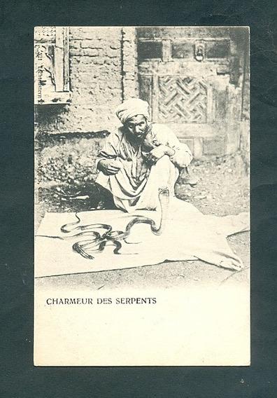 Egipto . Antigua Tarjeta Postal . Encantador De Serpientes