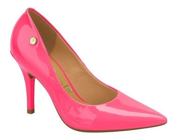 Sapato Scarpin Vizzano Bico Fino Fluor Neon Pink Amarelo