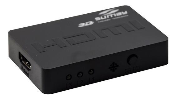 Mini Switch Com Controle Sumay Hdmi 1.4a 3 Portas 250mhz