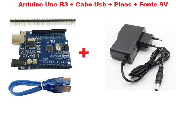 Arduino Uno R3 + Cabo Usb + Pinos + Fonte 9v