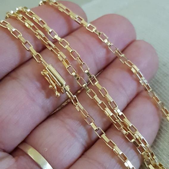 Cordão Corrente Tijolinho 2mm 70cm Banhada A Ouro 18k