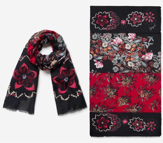 Pashmina Desigual Negra Roja Flores, Bufanda Invernal Mujer