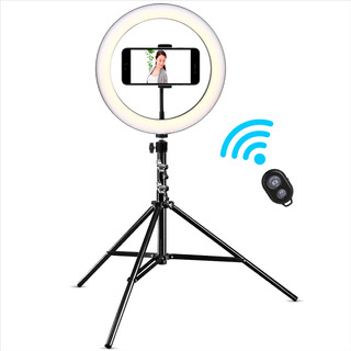 Aro Luz 26cm Celular Trípode 2m Bluetooth Led 3 Tonos 10 Niv