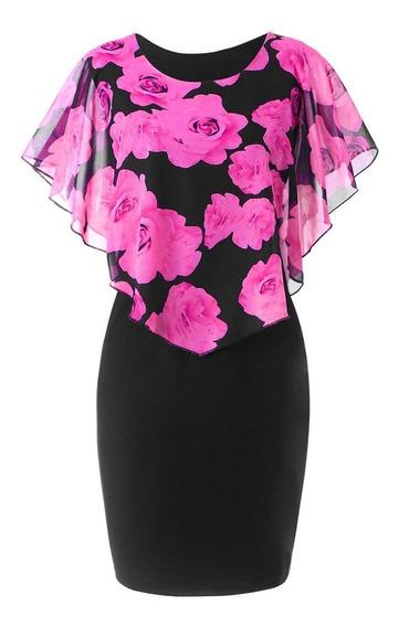 Vestido Rosa Sin Mangas Con Estampado De Rosas De Verano