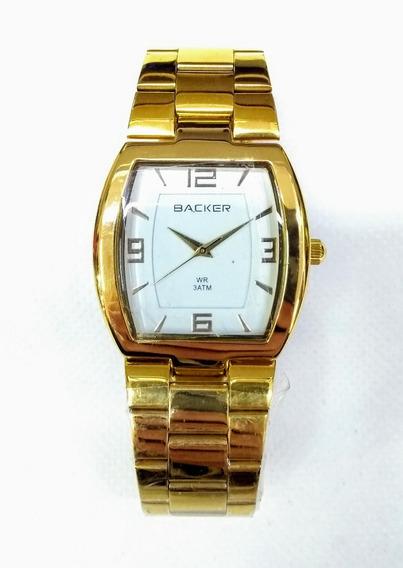 Relógio Feminino Backer 3248145l Dourado Quadrado De Vltrine