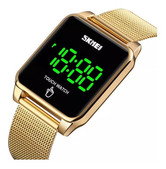 Relógio Digital Touch Dourado Unissex Skmei C/ Garantia